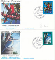 French Polynesia FDC 5-6-1991 BIRDS Complete Set Of 2 On 2 Cover  With Cachet - FDC