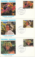 French Polynesia FDC 24-10-1986 Couronnes Polynesiennes Complete Set Of 3 On 3 Cover  With Cachet - FDC