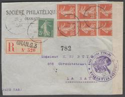 ALGERIE:  France N°137+138(x6) Sur Devant De Lettre REC. Censurée D'ORAN De 1916 - Marcophilie (Lettres)