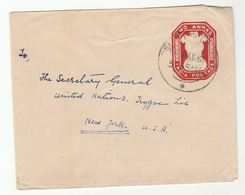 1951 INDIA Stationery COVER To UN SECRETARY GENERAL TRYGVE LIE  USA United Nations UPRATED With Stamp On Back - Covers & Documents