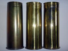 Lot De 3 Douilles D'obus Allemand De 77mm 7,7cm - WW1 - Inertes - 1914-18