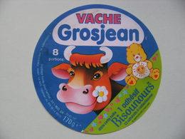 Etiquette Fromage Fondu  - Vache Grosjean - 8 Portions Pub Bisounours à Collectionner - Jura   A Voir ! - Fromage