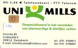 NEDERLAND CHIP TELEFOONKAART CRD 579 * UNI MILLS * Telecarte A PUCE PAYS-BAS ONGEBRUIKT MINT - Private
