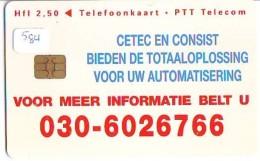 NEDERLAND CHIP TELEFOONKAART CRD 584 * CETEC * Telecarte A PUCE PAYS-BAS ONGEBRUIKT MINT - Nederland