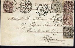 """FR - 1903 - Affranchissement 1-2-3 Ct Blanc Sur CPA """"Nancy - Pont Des Grands Moulins"""" Corresp. Vers Bruxelles - B/TB - - Storia Postale"""