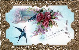 Cpa Fantaisie Brodée Gaufrée - Amitiés - - Brodées