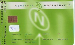 NEDERLAND CHIP TELEFOONKAART CRD 595 * GEMEENTE NOORDENVELD  * Telecarte A PUCE PAYS-BAS ONGEBRUIKT MINT - Nederland