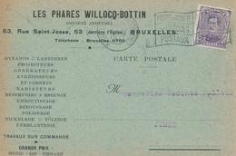 236/27 - LAMPES - Entete PHARES Willocq Bottin S/ Carte TP Petit Albert BRUXELLES 1931 - Timbres