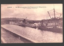 Liège - La Meuse Pendant Les Travaux De L'Exposition - Dos Simple - Boot / Bateau - Liege
