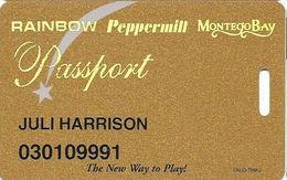 Wendover Resorts - Rainbow, Peppermill & Montego Bay Casinos - Slot Card 1-800-537-0207 Phone# 3 Web Adres - Casino Cards