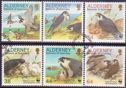 ALDERNEY 2000 SG A140-A145 Compl.set Used Peregrine Falcon - Alderney