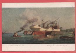EA Alekseev 1952 Descent Of The Ship From Floating Dock Ships Barge Boat Steamer Rare - Piroscafi
