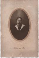 Moyenne  Photo De Studio Ancienne Montée Sur Carton/ Tête De Marin./INIZAN / BREST /Vers 1890-1918    PHOTN446 - Guerra, Militari