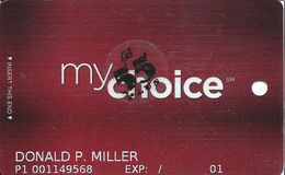 Pinnacle Entertainment Casinos USA - My Choice Slot Card - Copyright 2008 - 7 Lines Text & 55+ Sticker - Casino Cards