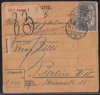 DR Paketkarte Mif Minr.85II,2x 88II,3x 96B Aachen 30.1.20 Gel. Nach Berlin - Brieven En Documenten