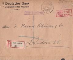 DR R-Brief Gebühr Bezahlt Bad Nauheim 5.9.23 Gel. Nach England - Deutschland