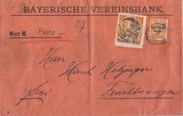 DR Wertbrief Mif Minr.120,136 München Gel. Nach Feuchtwangen - Covers & Documents