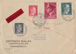 DR Brief Eilbote Mif Minr.781,788,796,813 Nürnberg 4.5.42 Gel. Nach Frankreich Zensur - Deutschland