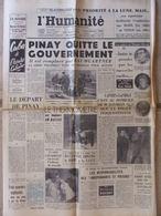 Journal L'Humanité (14 Janv 1960) Pinay Gouvernement - Priorité à La Lune - O Aoudia - B Bardot - - Kranten