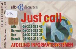NEDERLAND CHIP TELEFOONKAART CRD 635 * SFB Diensten  * Telecarte A PUCE PAYS-BAS ONGEBRUIKT MINT - Privé