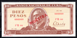 CUBA  1984 10 PESOS. MÁXIMO GÓMEZ. NUEVO. MUESTRA . PICK CS18 .B1218 - Cuba