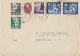 DDR Brief Mif Minr.264,2x 295,SBZ Minr.212,213,215 Eisenberg 12.12.51 Gel. In USA - Briefe U. Dokumente