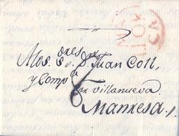 PREFILATELIA , 1813 , CARTA COMPLETA , ISLAS BALEARES , PALMA DE MALLORCA - MANRESA , T. 12 - Spanien