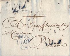 PREFILATELIA , 1799 , CARTA COMPLETA , ISLAS BALEARES , PALMA DE MALLORCA - BARCELONA , T. 8 - ...-1850 Vorphilatelie