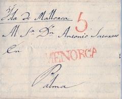 PREFILATELIA , 1840 , CARTA COMPLETA , ISLAS BALEARES - MENORCA , MAHÓN - PALMA , T. 5 - Espagne