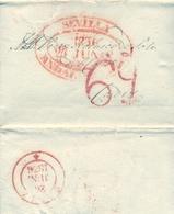PREFILATELIA , 27 / JUNIO / 1836 , CARTA COMPLETA , ANDALUCIA , SEVILLA - CADIZ, T. 24 - Espagne