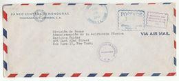 1953 BANCO CENTRAL DE HONDURAS To UN NY USA COVER Postage Paid Exonerado Pagado United Nations Airmail Banking Finance - Honduras