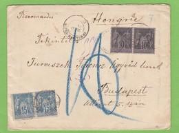 LETTRE RECOMMANDÉE DE CANNES POUR BUDAPEST. - 1876-1898 Sage (Tipo II)