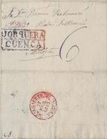 PREFILATELIA , 1843  , CARTA COMPLETA  , CUENCA  , JORQUERA - ALBACETE   , T. 2 - ...-1850 Voorfilatelie