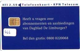 NEDERLAND CHIP TELEFOONKAART CRD 666 * DAGBLAD DE LIMBURGER * Telecarte A PUCE PAYS-BAS ONGEBRUIKT MINT - Nederland