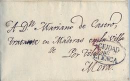 PREFILATELIA , 1839  , CARTA COMPLETA  , CUENCA - MORA , POR TOLEDO    , T. 6 - ...-1850 Voorfilatelie