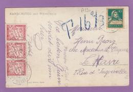 CARTE POSTALE DE SUISSE TAXÉE AU HAVRE. - 1859-1955 Covers & Documents