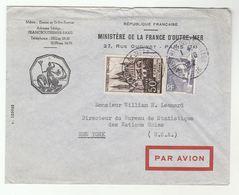 1952 Ministere De La FRANCE D'Outer Mer COVER To UN STATATISTICS BUREAU USA Marianne De Gandon Caen Stamp United Nations - UNO