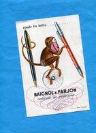 """BUVARD--""""BAIGNOL &FARJON""""- Illustré -singe  Et Stylos -d'après A François-années40-50 - Papeterie"""