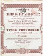 Obligation Ancienne - CHEMIN De FER NORD-DONETZ  - Titre Provisoire De 1914 N° 39925 - Russie