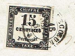 OISE 60 CREVECOEUR LSC TAD 15 Du 16/09/1863 Sur Taxe Carré 15 C Bien Margé  TTB - Postmark Collection (Covers)