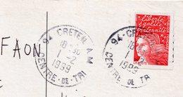 1999 - Cachet Manuel -94-CRETEIL Centre De Tri --A M -- Sur Carte Postale Publicitaire Paris 17-théâtre L'Européen - Marcophilie (Lettres)