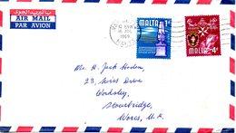 MALTE. N°304 & 309 De 1965 Sur Enveloppe Ayant Circulé. Colonne De L'ère Punique/Chevaliers De Malte. - Malta