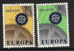 Iceland, Scott # 389-90 Used Europa, 1967 - 1944-... Republik