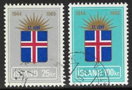 Iceland, Scott # 408-9 Used Flag And Rising Sun, 1969 - 1944-... Republik