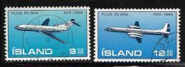Iceland, Scott # 410-1 Used Airplanes, 1969 - 1944-... Republik
