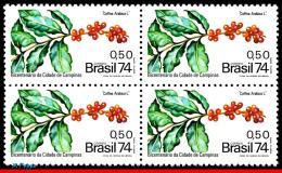 Ref. BR-1366-Q BRAZIL 1974 AGRICULTURE, BRANCH OF COFFEE, CITY OF, CAMPINAS, 200 YEARS, MI# 1458,BLOCK MNH 4V Sc# 1366 - Landwirtschaft