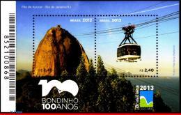"Ref. BR-3232 BRAZIL 2012 TRANSPORT, ""PAO DE ACUCAR"", CENT.,, CABLE CAR, RIO , BRASILIANA 2013,S/S MNH 2V Sc# 3232 - Blocks & Sheetlets"