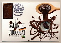 """France - 2 Cartes """"1er Salon Du Chocolat"""" 12 Février 2010 - 13 MARSEILLE - Oblitération Temporaire - France"""