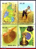 Ref. BR-3283 BRAZIL 2014 FLOWERS, PLANTS, GOLDEN GRASS, THE GOLD OF, JALAPAO, MAPS, FLAGS, ART,SET MNH 4V Sc# 3283 - Briefmarken