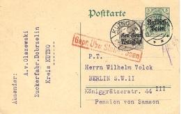 1915- Poskarte   5 Pf  Russisch POLEN  + 2 1/2  Gen. Gouv.  / Warschau  From KUTNO   To Berlin -censure - ....-1919 Provisional Government